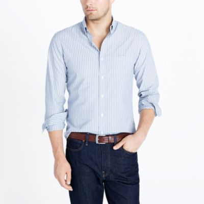 Slim washed shirt in end-on-end stripe factorymen slim c