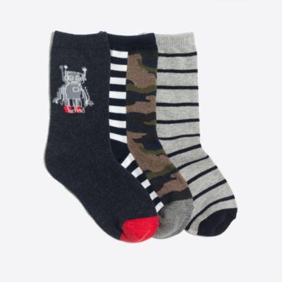 Boys' camo robot trouser socks three-pack