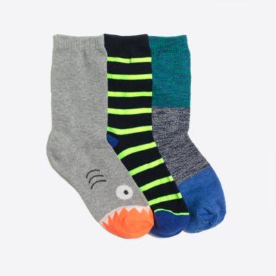 Boys' color block fish trouser socks three-pack