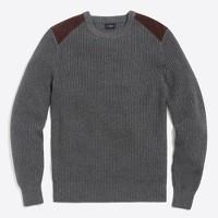 Shoulder-patch cotton crewneck sweater