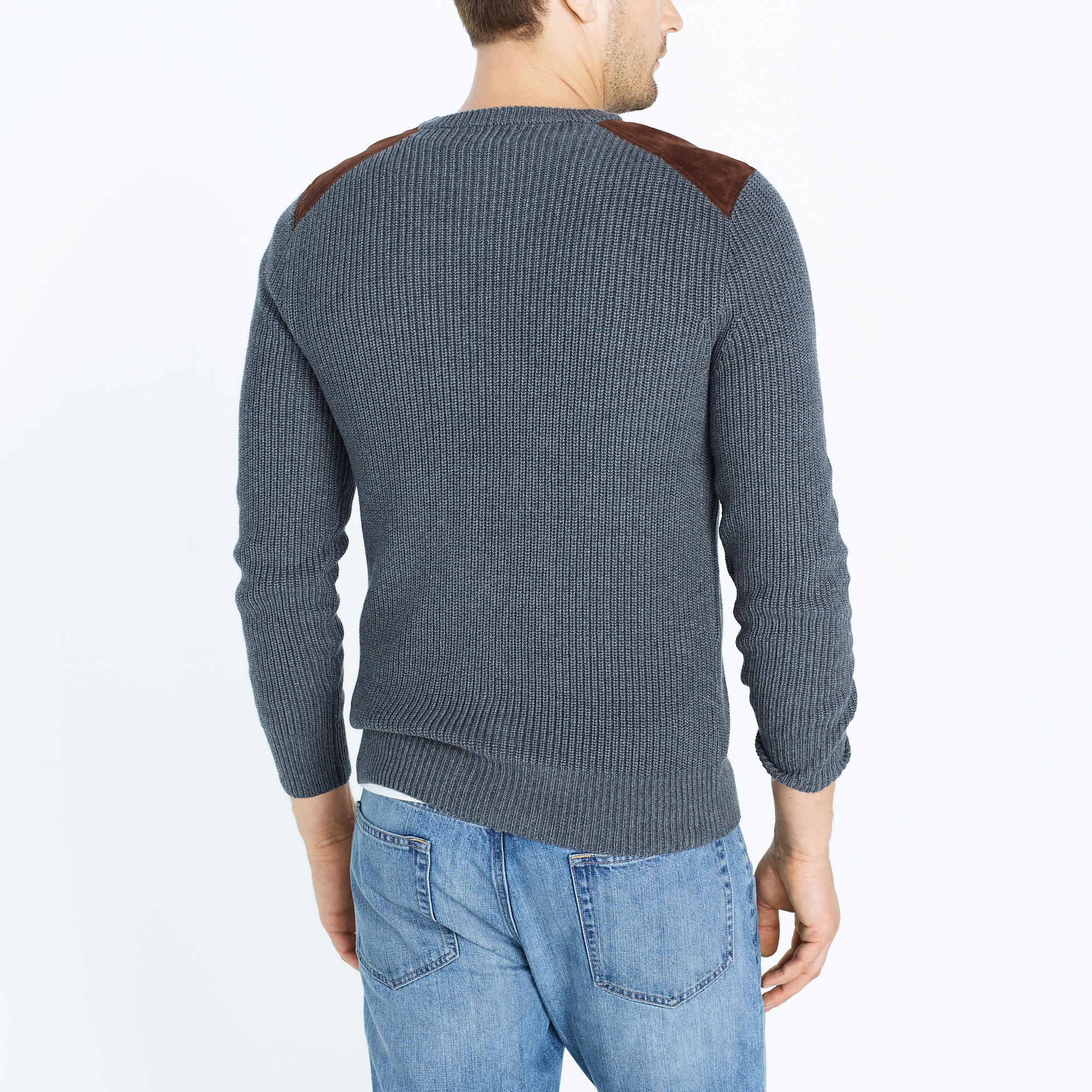 Shoulder-patch cotton crewneck sweater : FactoryMen Cotton | Factory
