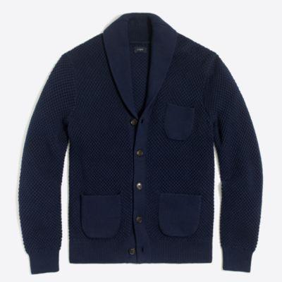 Cotton seedstitch cardigan sweater