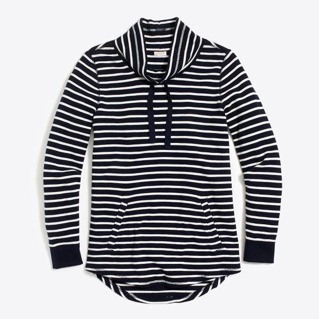 Striped waffle funnelneck sweatshirt