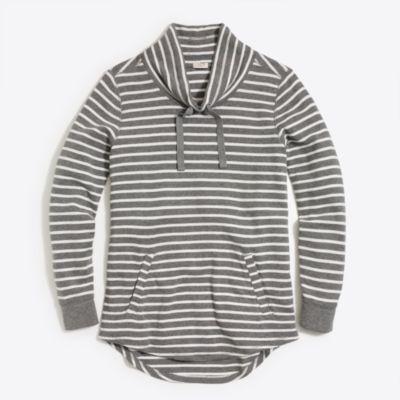 Striped waffle funnelneck sweatshirt factorywomen weekend collection c