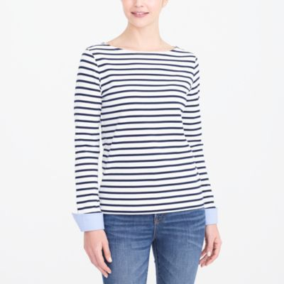 Cuffed striped boatneck shirt factorywomen knits & t-shirts c