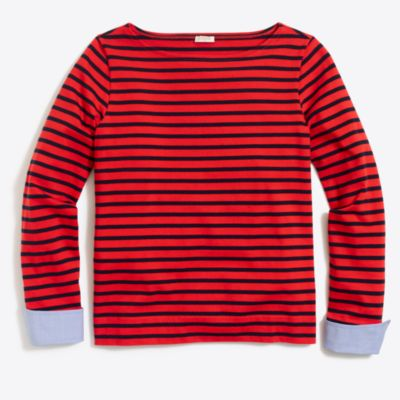 Cuffed striped boatneck shirt   sale