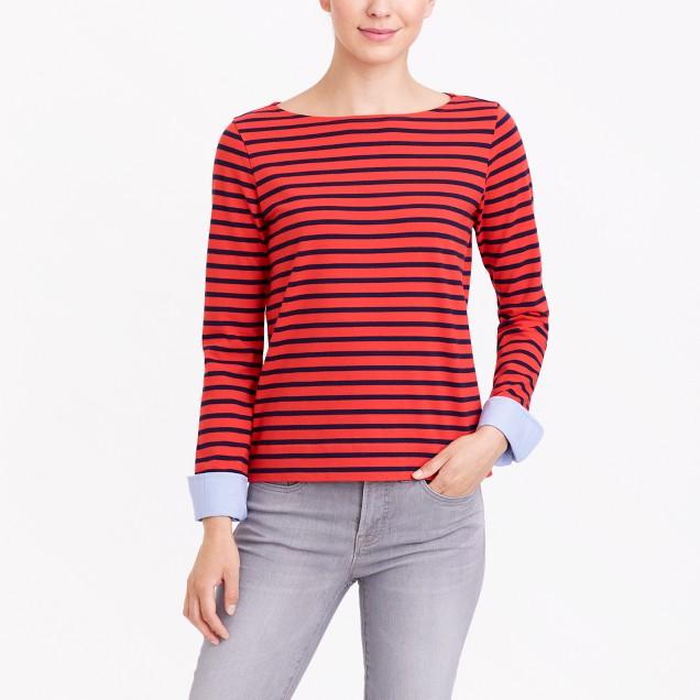 Cuffed striped boatneck shirt