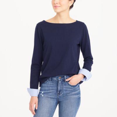 Cuffed boatneck shirt factorywomen knits & t-shirts c