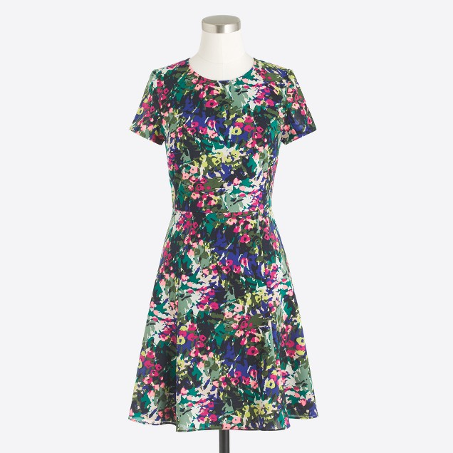 Petite printed flutter dress