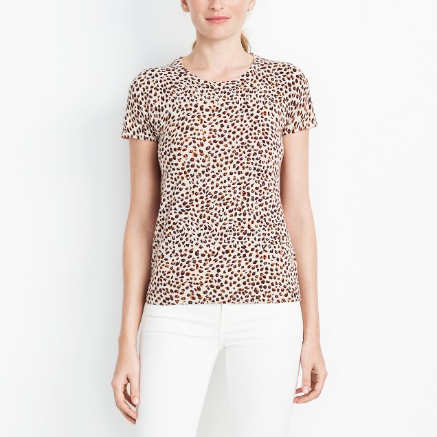 Short-sleeve leopard sweater