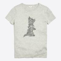 Short-sleeve dog scribble sweater