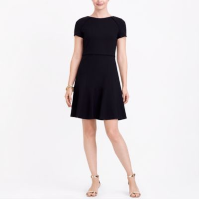 Short-sleeve flounce ponte dress