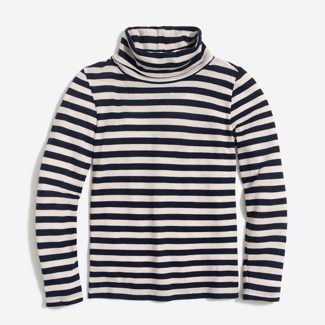 Girls' long-sleeve striped turtleneck