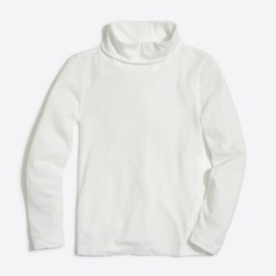 Girls' long-sleeve solid turtleneck