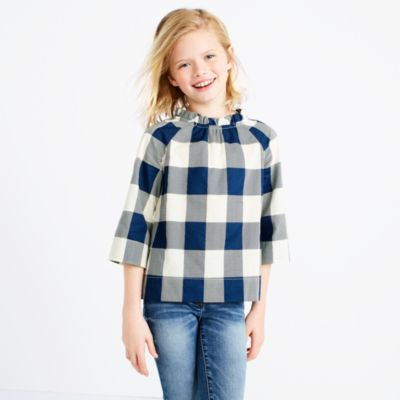 Girls' ruffle-neck top in gingham