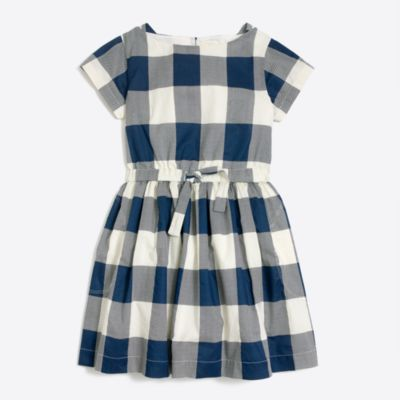 Girls' short-sleeve gingham dress