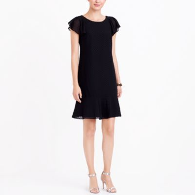 Ruffle sleeve flounce dress in Swiss dot