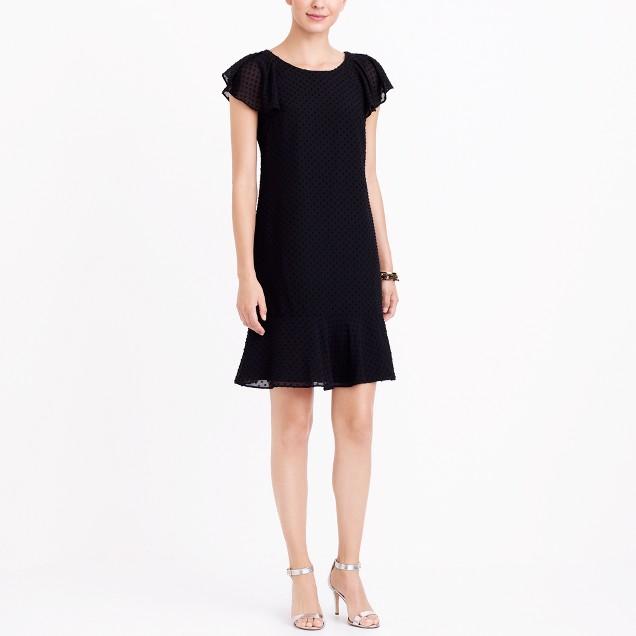 Ruffle sleeve flounce dress in Swiss dot