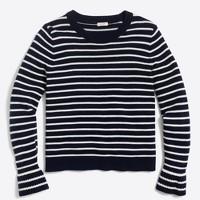 Striped ruffle-cuff sweater