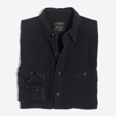 Chambray workshirt in black wash