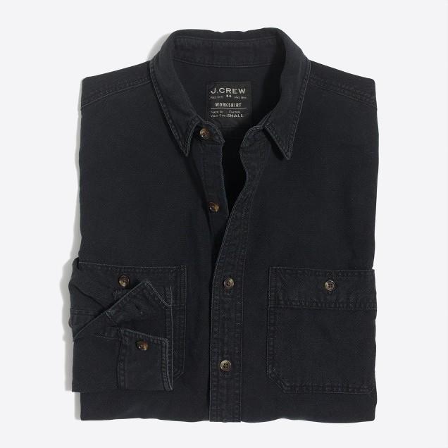 Chambray workshirt in black wash