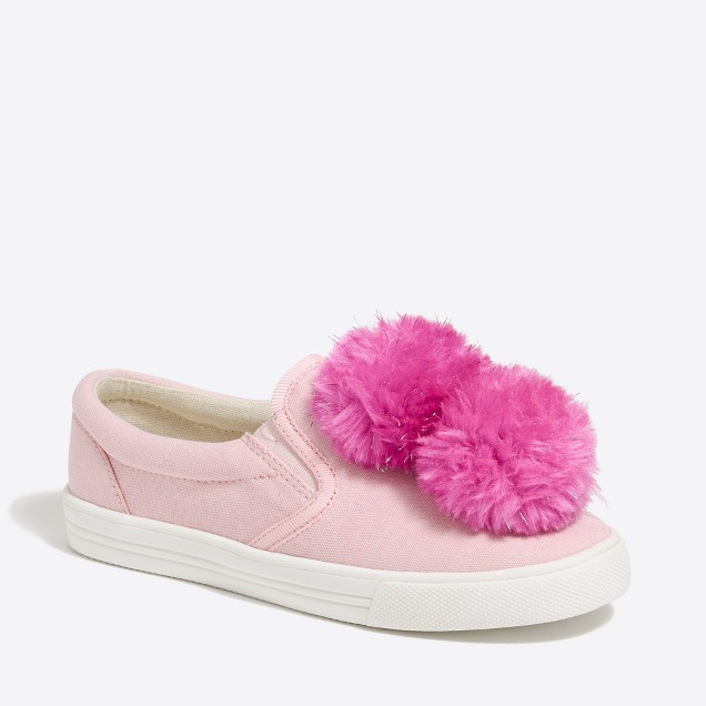 Girls' pom pom canvas sneaker