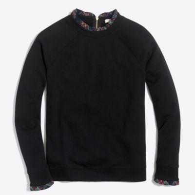 Woven ruffle-neck pullover
