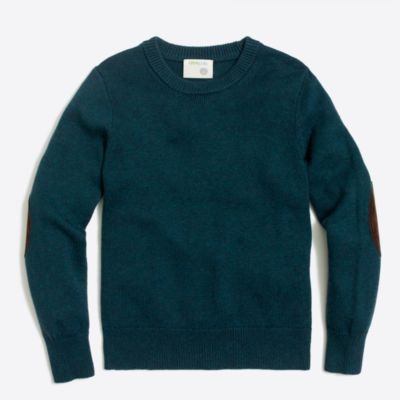 Boys' elbow-patch crewneck sweater