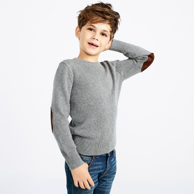 Boys' elbow-patch crewneck sweater