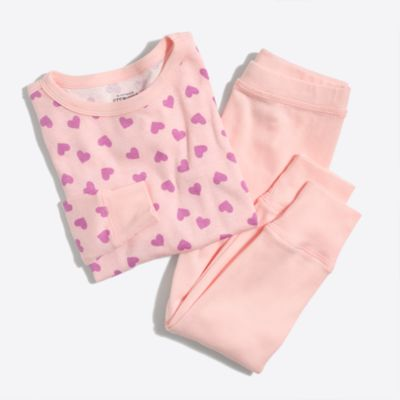 Girls' heart-print pajama set