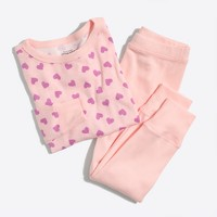 Girls' heart-print pajama set