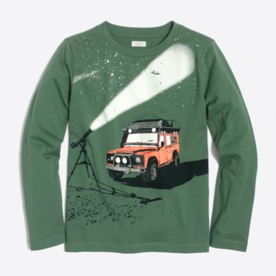 Boys' long-sleeve glow-in-the-dark stargazer storybook T-shirt