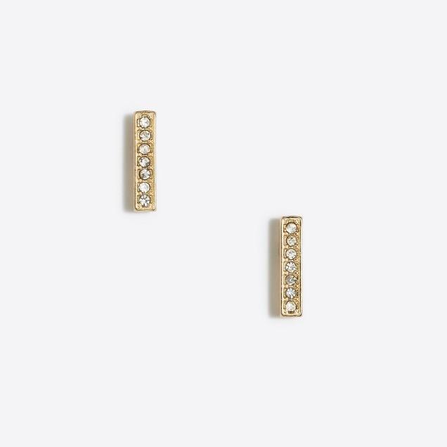 Pavé bar stud earring