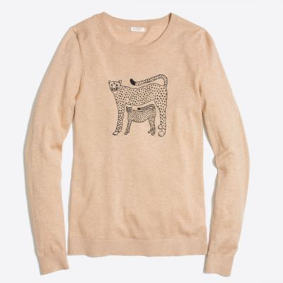 Embroidered cheetah Teddie sweater