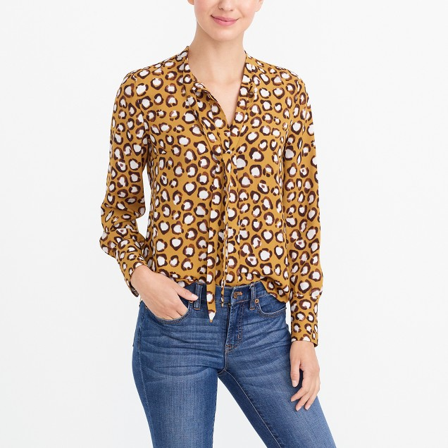 Long-sleeve printed tie-neck top