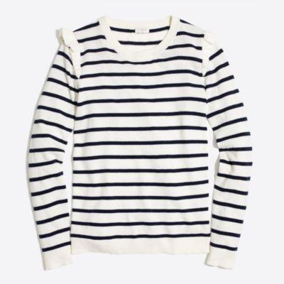 Striped ruffle-shoulder sweater