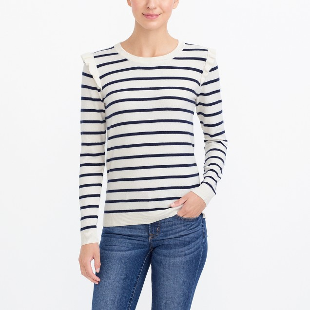 Striped ruffle-shoulder sweater