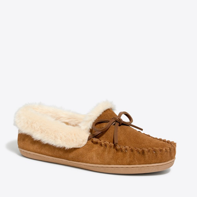 Suede shearling slippers