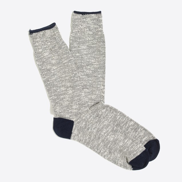 Marled-cotton tipped socks