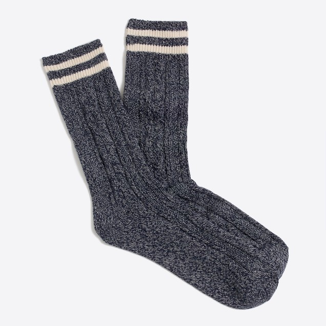 Cable-knit placed-stripe socks