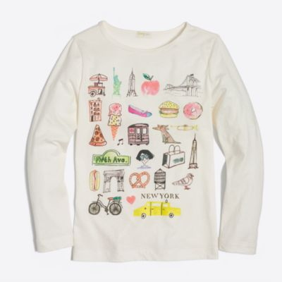 Girls' long-sleeve New York keepsake T-shirt