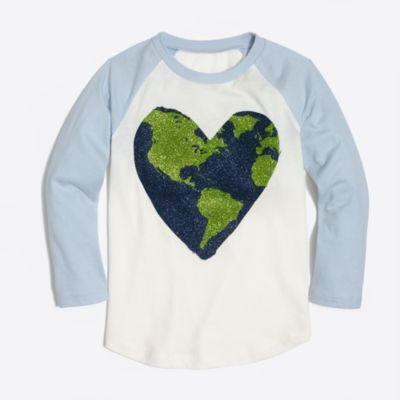 Girls' long-sleeve heart world baseball keepsake T-shirt