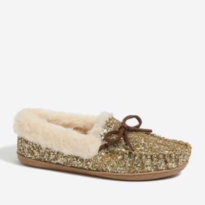 Glitter shearling slippers