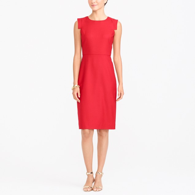 Sleeveless fitted wool dress