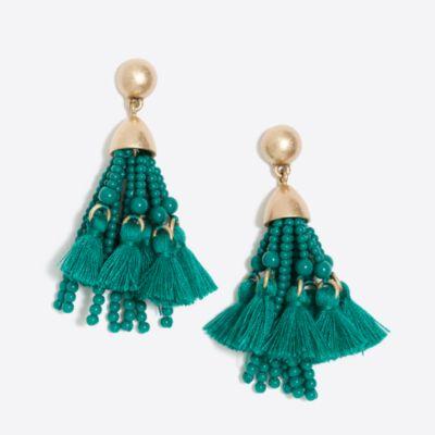Bead and thread tassel earrings
