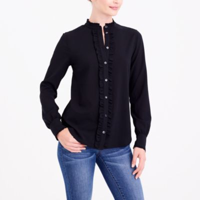 Long-sleeve ruffle-front top