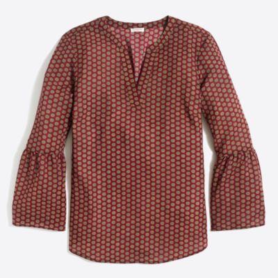 Printed bell-sleeve top factorywomen dress-up shop c