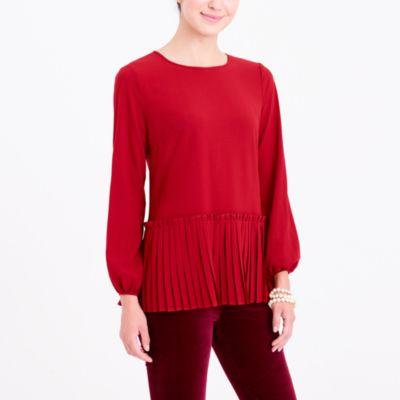 Long-sleeve pleated hem blouse