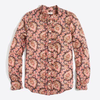 Ruffle-front polka-dot blouse   sale