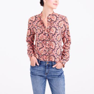 Ruffle-front polka-dot blouse
